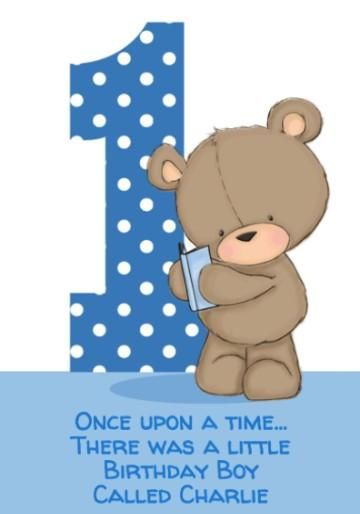 Cute Cartoon Bear With Book Polka Dot Blue First Birthday Card