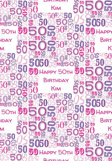 Illustrated Numerical Pink And Purple 50th Birthday Gift Wrap