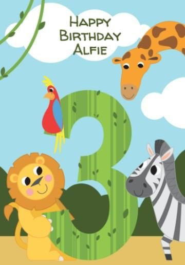 Cartoon Animals In The Jungle 3rd Birthday Card