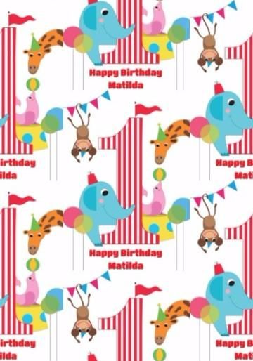 Cartoon Circus Animals First Birthday Wrapping Paper
