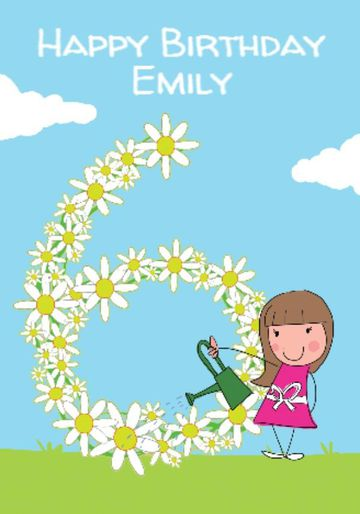 Cartoon Girl Watering Daisy Chain 6th Birthday Card