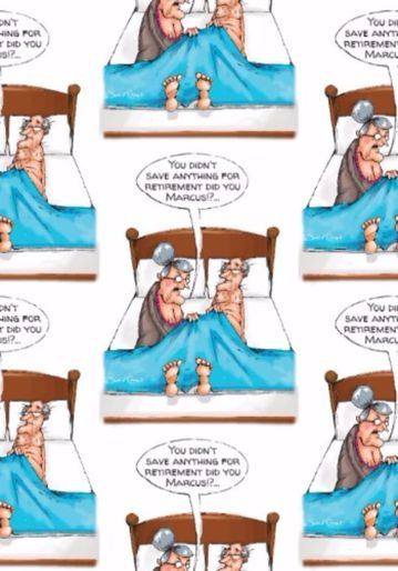 Cartoon Old Couple In Bed With Disappointed Wife Birthday Gift Wrap