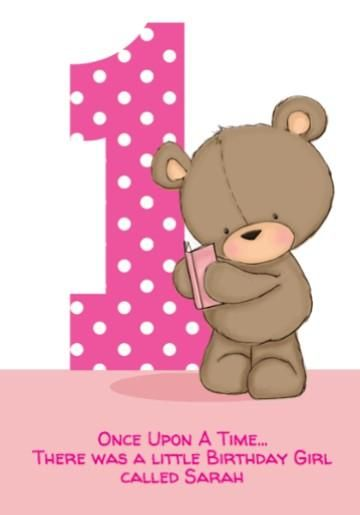 Cute Cartoon Bear With Book Polka Dot Pink First Birthday Gift Wrap