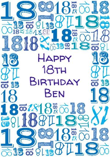 Illustrated Numerical 18s In Blue Shades 18th Birthday Card