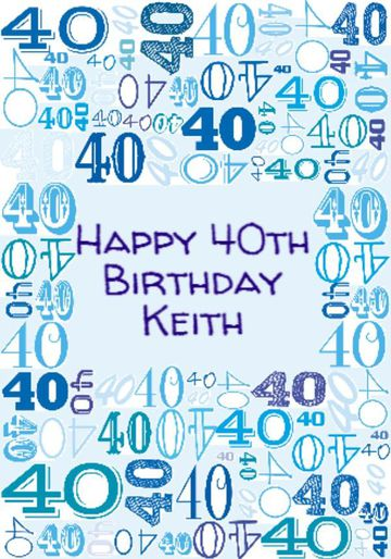 Illustrated Numerical 40s In Blue Shades 40th Birthday Gift Wrap