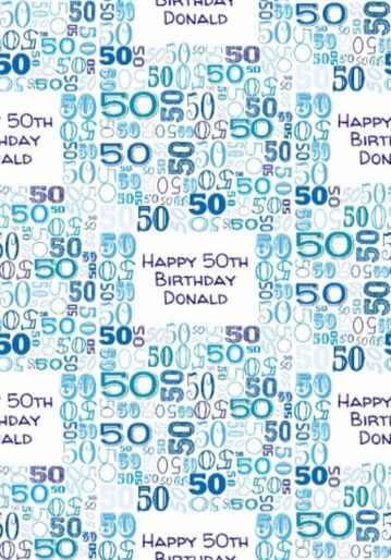 Illustrated Numerical 50s In Blue Shades 50th Birthday Gift Wrap