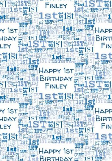 Illustrated Numerical Blue 1st Birthday Wrapping Paper