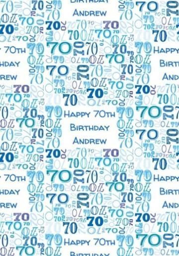 Illustrated Numerical Blue Typography 70th Birthday Wrapping Paper