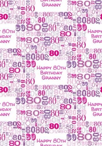 Illustrated Numerical Pink And Purple 80th Birthday Gift Wrap