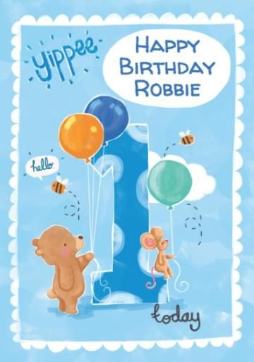 One Today Cartoon Animals And Balloons Blue 1st Birthday Gift Wrap