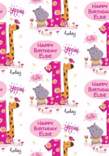 One Today Cartoon Animals And Flowers Pink 1st Birthday Gift Wrap