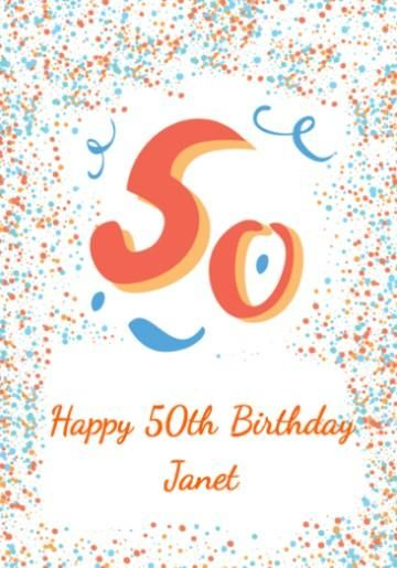 Personalised 50th Birthday Card With Large 50 And Colourful Blue Orange Dots