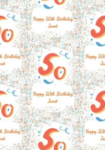 Personalised 50th Birthday Gift Wrap With Large 50 And Colourful Blue Orange Dots