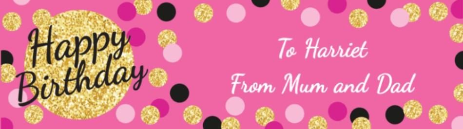 Personalised Happy Birthday Banner With Pink Gold And Black Dots