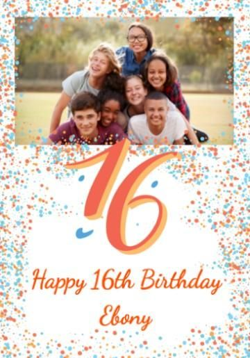 Personalised Photo Upload 16th Birthday Card With Large 16 And Colourful Blue Orange Dots