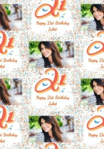 Personalised Photo Upload 21st Birthday Gift Wrap With Large 21 And Colourful Blue Orange Dots
