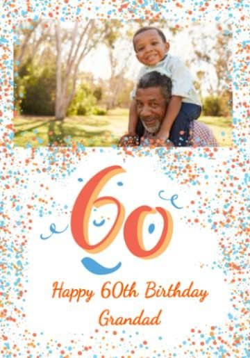 Personalised Photo Upload 60th Birthday Card With Large 60 And