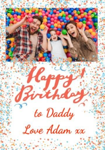 Personalised Photo Upload Birthday Card With Happy Typography And Colourful Blue Orange Dots