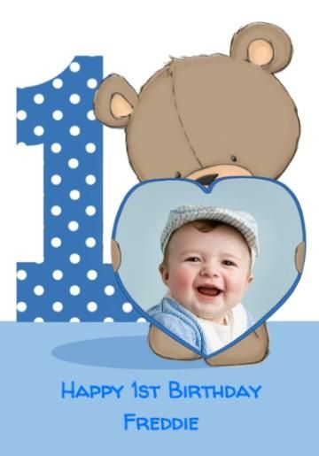 Photo upload cartoon bear with blue heart frame 1st birthday card bookmarktalkfo Choice Image