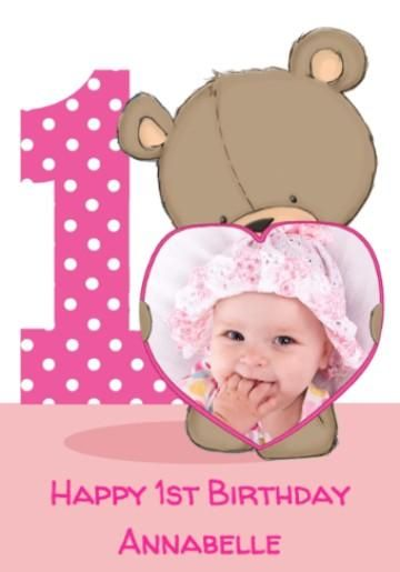 Photo Upload Cartoon Bear With Pink Heart Frame 1st Birthday Gift Wrap
