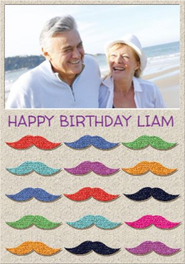 Photo upload multi coloured moustaches birthday card bookmarktalkfo Choice Image