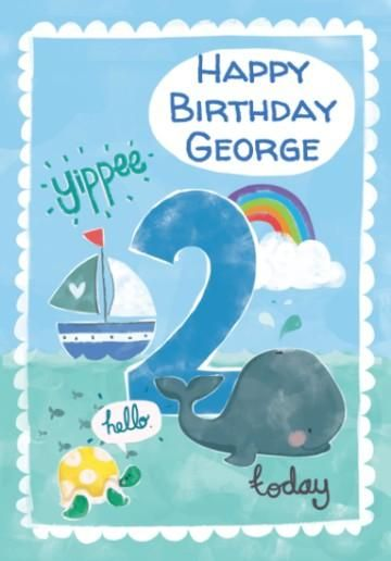 Two Today Cartoon Seaside Theme Blue 2nd Birthday Card